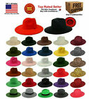 FEDORA PANAMA COWBOY INDIANA JONES UPTURN WIDE BRIM COTTON BLEND FELT HAT