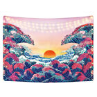Ocean Wave Tapestry Sunset Tapestry Japanese Style Wall Hanging Mat Washable
