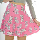 PINK WITH GREY ELEPHANTS SKATER MICRO MINI SKIRT ALTERNATIVE GOTH SIZE 8-18