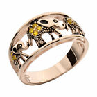 Rose Gold Sterling Silver Elephant Rings Citrine Women's Wedding Promise Ring