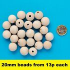 Natural Untreated Plain Round Wooden Wood Bead With Hole Ball Jewellery 20mm