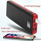 2USB Power Bank 900000mAh Portable External Travel LED LCD Battery Pack Charger