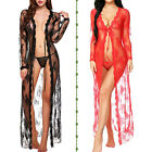 Sexy-Lingerie for Womens Long Lace Dress Sheer Gown See Through Kimono Robe US