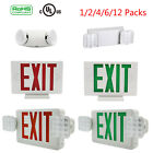 Universal LED Exit Sign Emergency Light–RED/GREEN/Dual Head Compact Combo UL