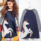 Cotton Kids Baby Girls Dress Unicorn Striped Long Sleeve Dresses Tops Clothes US