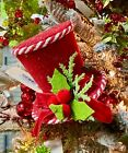 """5"""" Peppermint RED TOP HAT CHRISTMAS Ornament Tree Topper 3906687 NEW RAZ"""