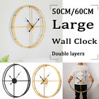 3D 60cm Large Metal Wall Clock Modern Art Iron Mute Watch Home Office Decor Gold