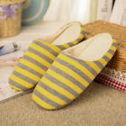 Womens Men Home Warm Slippers Coral Velvet Shoes Home Indoor Flats Stripe Hot