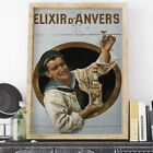 Elixir D Anvers by Gerard Portielje retro poster print - various sizes, frame...