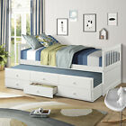 Twin Size Captain Bed Solid Wood with Trundle and Drawers For Kids' Bedroom