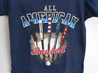 "BOYS ""ALL AMERICAN BASEBALL"" PATRIOTIC BATS SHIRT TSHIRT TOP (blue)  NEW"