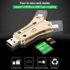 4 in 1 USB i-Flash Drive Micro SD/TF Card Reader Adapter For iPhone iPad Android