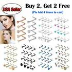 5pc/16pc 20g L Shape Nose Ring Studs Stainless Steel Cz Gem Nose Body Piercing