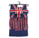 Britain UK Union Jack Patriot Beanie Bobble Hat Scarf Set Ribbed Knit GB
