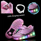 Girls Rechargeable LED Sneakers Retractable Single Wheel Roller Skating Shoes