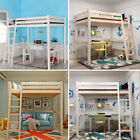 High Sleeper Cabin Bed with Ladder Solid Wooden Loft Bunk Bed Frame Kids Adult
