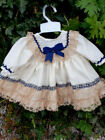 DREAM 0-18 months cream tan navy lined autumn frilly baby dress or reborn dolls