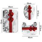 US 4x Xmas Red Bow PVC Shower Curtain Carpet Rug Toilet Cover Mat Decor Bathroom
