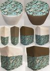 Custom Canvas Teal Paisley Matching Cover Set for Kitchen Countertop Appliances