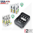 Lot 2800mah 1100mah AA AAA NiMH Rechargeable Battery w/ Smart USB Quick Charger