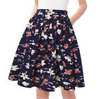 Women's Vintage A-line Floral Printed Pleated Flared Midi Skirts With Pockets