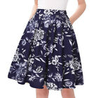 Women's Vintage Button Pleated Floral Flared Pockets Swing Casual Midi Skirts
