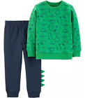 Carter's Infant Boys 2-Piece Green Dino Sweatshirt w/ Navy Joggers Set NWT