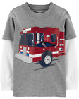 Carter's Infant Boys Layered Look Firetruck Tee w/ Fun Zip NWT long sleeve