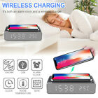 Electric LED Alarm Clock Wireless Phone Charger Desktop Digital Thermomete NEW-