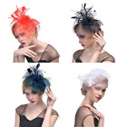 Fascinator Flower Headdress Feather Mesh Hat Cap Headwear for Girls & Women