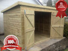 10x8 PENT GARDEN SHED HEAVY DUTY Double Doors fully Tanalised (FACTORY SECONDS)
