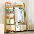 2/5 Tier Bamboo Garment Rack Storage Shelves Clothes Hanging Rack With Side Hook