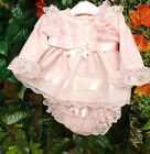 DREAM 0-5 YEARS BABY GIRLs SPANISH TOP AND FRILLY BUM PANTS DRESS SET OR REBORN