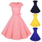 Women's Retro 1950s Rockabilly Bridesmaid Vintage Party Cocktail Swing Dresses