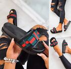 WOMENS NEW LADIES FLAT BOW SLIDES SUMMER DESIGNER SLIDERS SANDALS SHOES SIZE 3-8