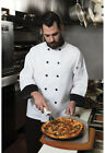 NWT DICKIES CLASSIC 10 BUTTON CHEF COAT WHITE WITH BLACK TRIM DC46
