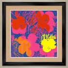 """32W""""x32H"""": FLOWERS RED YELLOW ORANGE by ANDY WARHOL DOUBLE MATTE, GLASS & FRAME"""