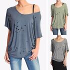 TheMogan Women's Burn Out Boat Neck Slouchy Jersey Top Vintage Cutout Washed Tee