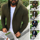 Men's Hooded Knitted Sweater Coat Jacket Cardigan Long Sleeve Casual Outwear Top