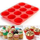 12 Grid Silicone Large Muffin Yorkshire Pudding Mould Cupcake Bake Tray Bakeware