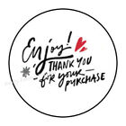 """30 ENJOY THANK YOU FOR YOUR PURCHASE ENVELOPE SEALS LABELS STICKERS 1.5"""" ROUND"""
