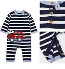 BNWT Mothercare Baby Boys Knitted Blue Fire Engine Vehicles Romper Baby grow New