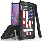 Rugged Case Cover Stand + Wrist Strap for Samsung Galaxy S10 - Patriotic Series