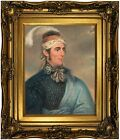 Brown Portrait Major John Norton as Mohawk Chief Wood Framed Canvas Repro 11x14