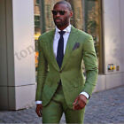 Men Suit Linen Green Flax Peak Lapel Two Button Single-Breasted Jacket Pant Prom