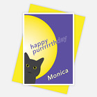 Cat lovers birthday card for her, edit name, cat pun card personalised