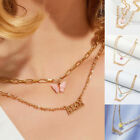 Acrylic Butterfly Pendant Gold Multilayer Chain Letters Pendants Women Jewelry image