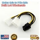 4 pin to 6 Pin Molex to PCI-E Power Adapter Converter Graphics Card Cable LOT