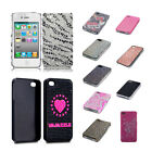 10X(Black Diamonte Hard Back Case Cover For Apple iPhone 4 X3Z7)