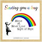RAINBOW HUG BANSKI HOPE ART Friend Card lockdown pandemic personalised sentiment